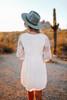 Button Detail Lace Empire Dress - Ivory