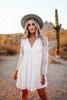 Button Detail Lace Empire White Dress