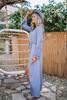 Crochet Detail Surplice Maxi Romper - Dusty Blue