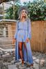 Crochet Detail Surplice Maxi Romper - Dusty Blue - FINAL SALE