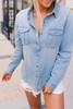 Button Down Denim Boyfriend Top - Light Wash  - FINAL SALE