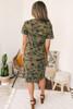 Cuffed Sleeve Camo T-Shirt Midi Dress - Olive Multi  - FINAL SALE