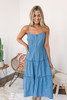 Button Down Tiered Denim Midi Dress - Medium Wash