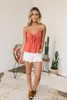 Tie Front Boho Printed Tank - Coral Red Multi - FINAL SALE