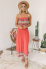 Strapless Boho Printed Jumpsuit - Coral Red Multi