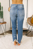 Monterey Beach Distressed Girlfriend Jeans - Medium Wash