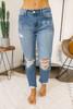 Monterey Beach Distressed Girlfriend Jeans - Medium Wash - FINAL SALE