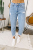 High Waist Distressed Mom Jeans - Light Wash - FINAL SALE