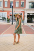 Everly Button Down Babydoll Dress - Olive  - FINAL SALE
