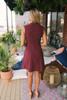 Everly Mock Neck Button Detail Tie Dress - Burgundy