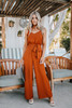 Everly V-Neck Tie Waist Jumpsuit - Brick - FINAL SALE