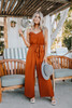 Everly V-Neck Tie Waist Jumpsuit - Brick