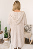 Hooded Two Tone Cozy Cardigan - Beige/White