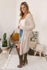 Hooded Two Tone Cozy Cardigan - Beige/White -  FINAL SALE