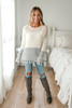 Colorblock Frayed Sweater - Beige/Ivory/GreyColorblock Frayed Sweater - Beige/Ivory/Grey