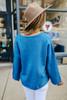 V-Neck Boxy Sweater - Pacific Blue