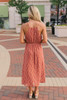 V-Neck Twisted Front Printed Midi Dress - Sienna/White