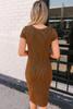 Button Detail Striped Midi Dress - Chestnut/Black  - FINAL SALE
