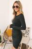 Ruched Detail Tulip Midi Dress - Black