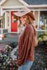 Dolman Sleeve Soft Knit Knot Pullover - Chestnut