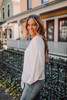 Dolman Sleeve Soft Knit Knot Pullover - Ivory