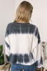 French Terry Tie Dye Crop Sweatshirt - Navy/Ivory