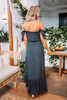 Off the Shoulder Button Down High Low Maxi - Navy