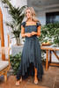 Off the Shoulder Button Down High Low Maxi - Navy- FINAL SALE