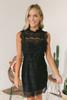 Mock Neck Open Back Lace Dress - Black- FINAL SALE