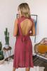 Keyhole Back Button Down Halter Midi Dress - Red Brick