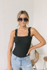 Ruffle Strap Ribbed Knit Bodysuit - Black - FINAL SALE
