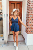 V-Neck Scalloped Crochet Romper - Navy - FINAL SALE