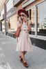 Button Down Tie Waist Midi Dress - Sepia - FINAL SALE