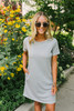 French Terry Striped T-Shirt Dress - Charcoal/White