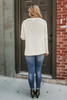 Open Knit Curled Hem Sweater - Natural