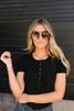 Ribbed Knit Henley Bodysuit - Black  - FINAL SALE
