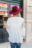 V-Neck Embroidered Peasant Top - Off White