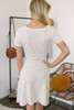 Tie Front Keyhole Striped T-Shirt Dress - Cream/Grey - FINAL SALE