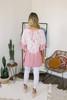V-Neck Drawstring Tie Dye Kimono Top - Pink/White