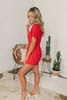 Everly Short Sleeve Surplice Tulip Romper - Red