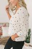 Everly V-Neck Button Down Dot Top - Ivory/Black- FINAL SALE