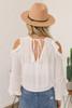 Open Shoulder Surplice Ruffle Top - White  - FINAL SALE