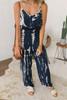 Criss Cross Back Tie Dye Jumpsuit - Navy/White -FINAL SALE