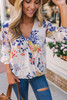 Roll Tab Surplice Floral Top - Vanilla Multi  - FINAL SALE