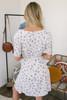 Short Sleeve Tie Waist Floral Dress - White Multi - FINAL SALE