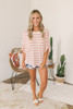 High Low Striped Waffle Top - Pink/Ivory