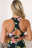 Rose Parade Cutout Sports Bra - Black Multi - FINAL SALE