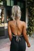 Deep V-Neck Halter Leopard Bodysuit - Tan/Black- FINAL SALE