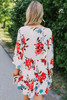 V-Neck Watercolor Floral Babydoll Dress - Red Multi