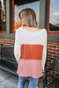 Boatneck Colorblock Sweater - Cream/Rust/Mauve